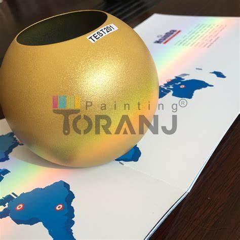 شماتیکی از رنگ پودری الکترواستاتیک طلایی